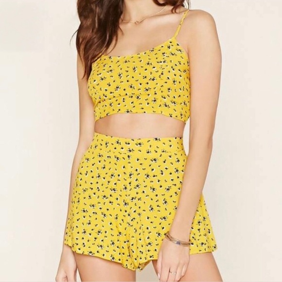 61065a42cf6 Forever 21 Shorts | Yellow Ditsy Floral Two Piece Short Set | Poshmark
